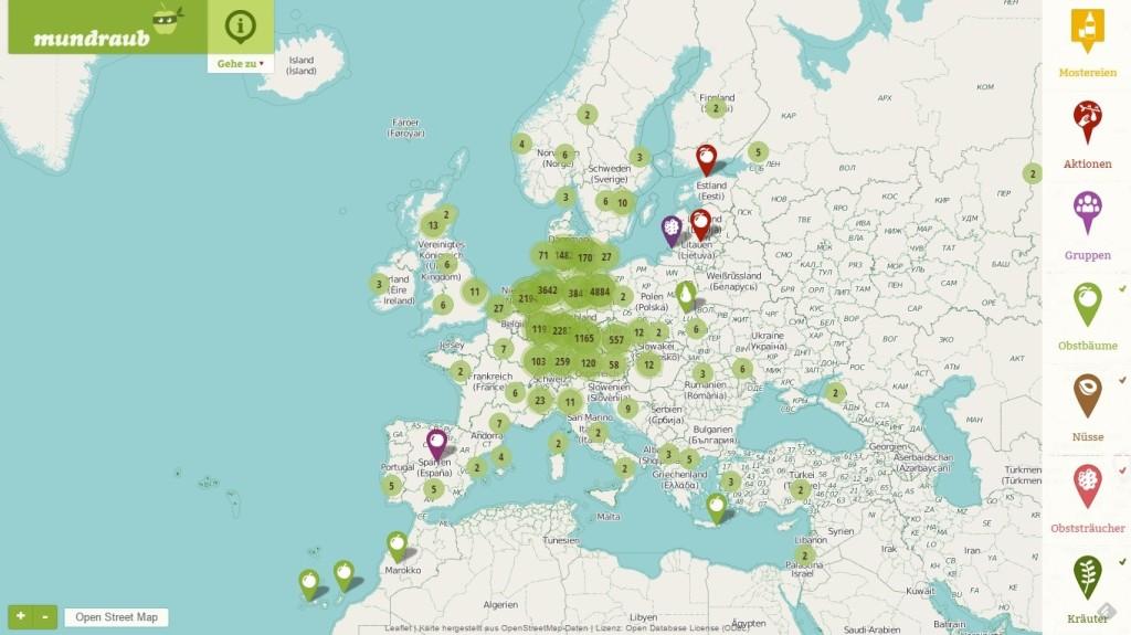 mundraub karte Vorgestellt: Mundraub.  Internetseite zeigt herrenlose  mundraub karte