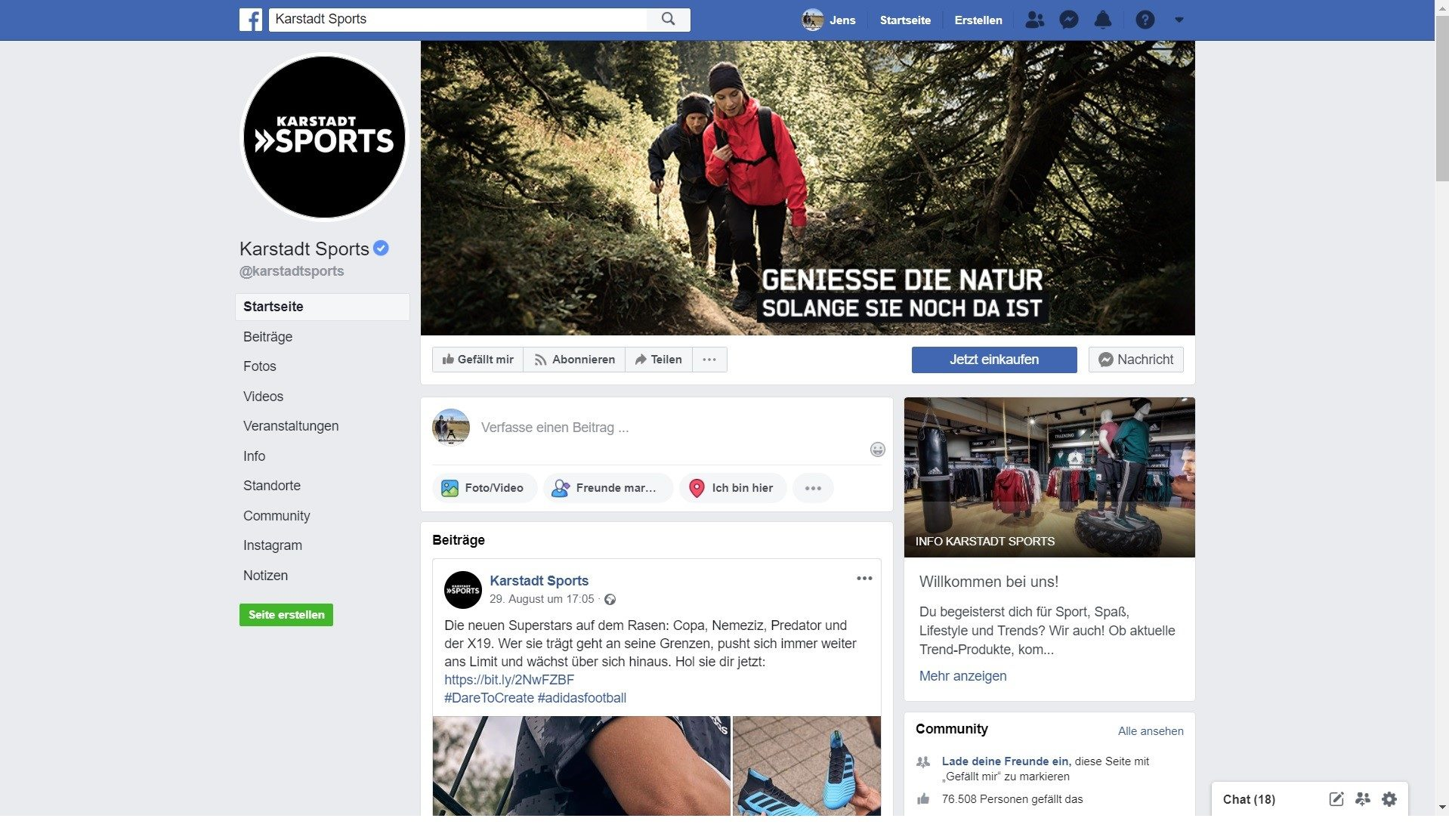 Werbung mit dem Klimawandel - Karstadt Sports Facebook