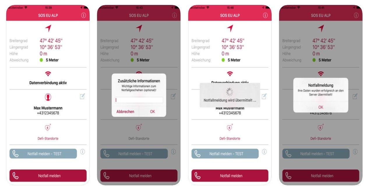 Die SOS-EU-ALP Notruf-App für Tirol, Bayern und Südtirol
