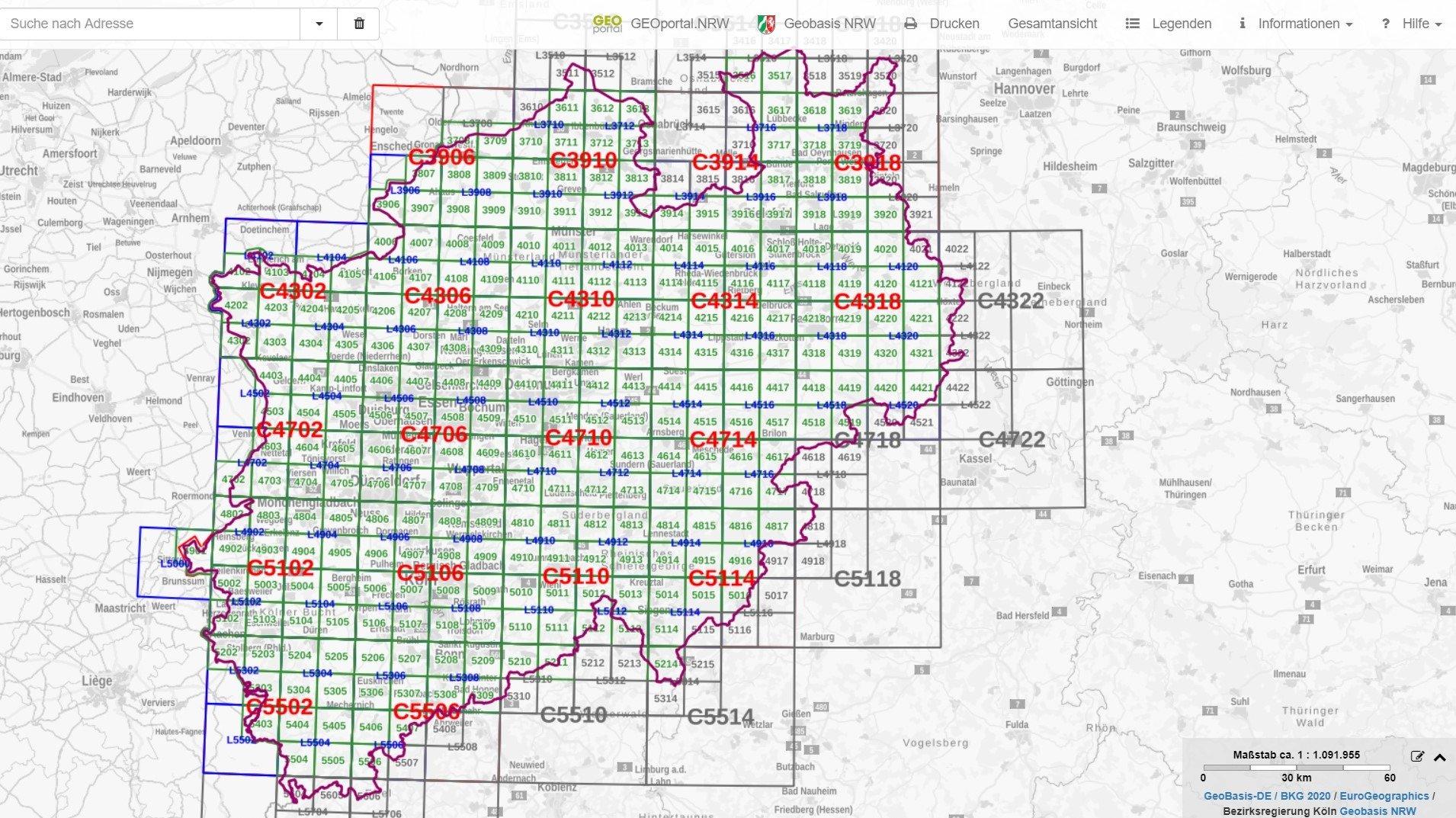 Aktuelle Topographische Karten NRW