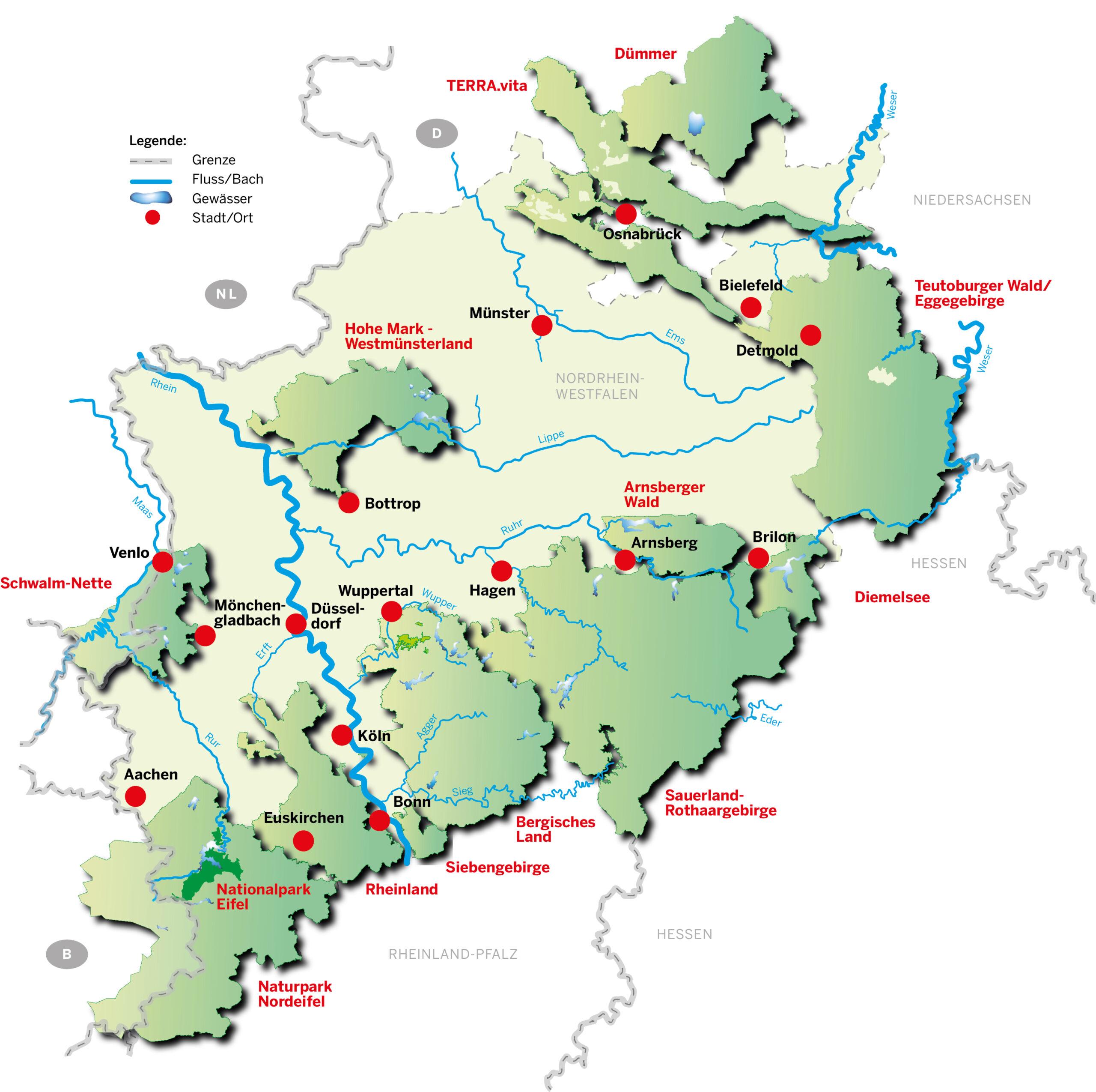 Übersichtskarte Naturparke in NRW und der Nationalpark Eifel